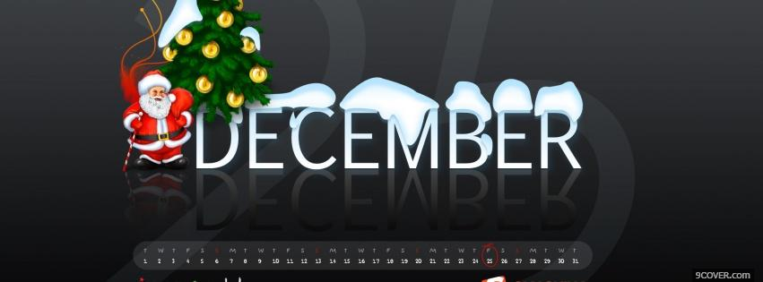 Photo santa claus and december Facebook Cover for Free