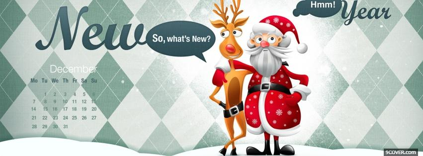 Photo santa claus with reindeer Facebook Cover for Free