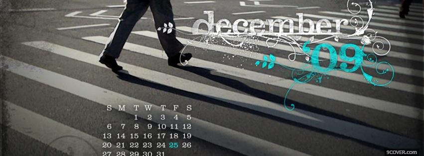 Photo walking on the street december Facebook Cover for Free