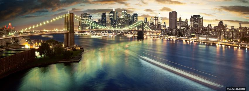 Photo brooklyn and bridge city Facebook Cover for Free