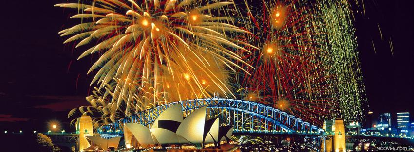 Photo fireworks sydney city Facebook Cover for Free
