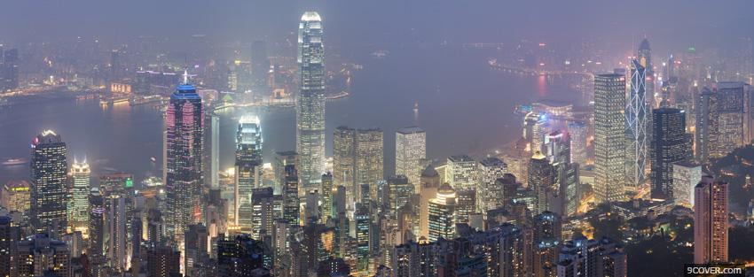 Photo city hong kong skyline Facebook Cover for Free