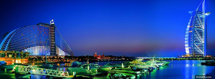 Photo dubai nightlife city Facebook Cover for Free