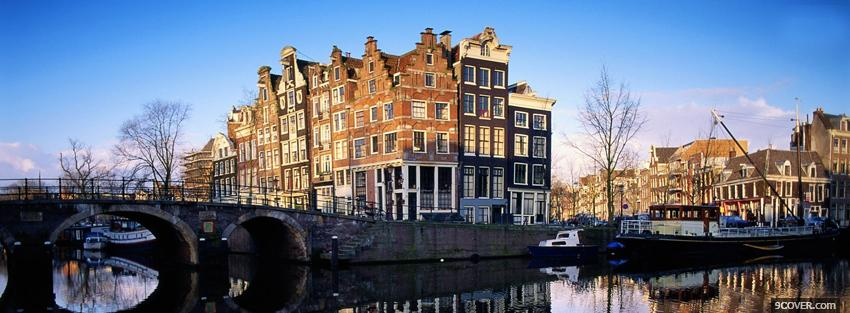 Photo amsterdam city Facebook Cover for Free