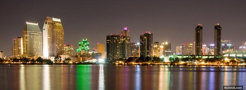 Photo san diego city night Facebook Cover for Free