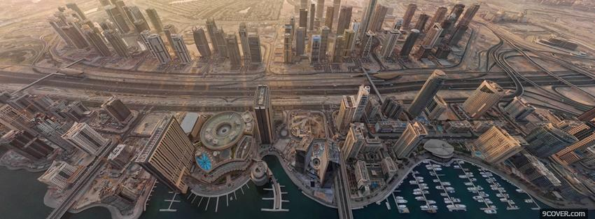Photo upper view dubai city Facebook Cover for Free