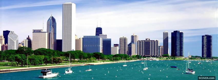 Photo lake michigan chicago city Facebook Cover for Free