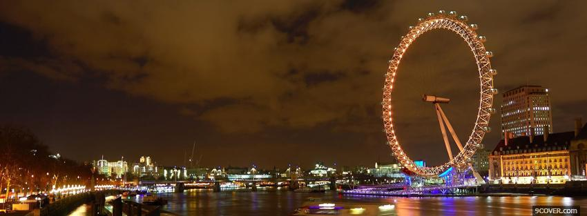 Photo london eye night city Facebook Cover for Free
