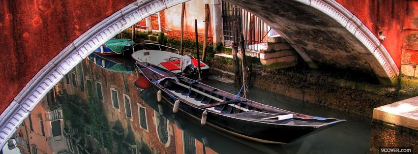 Photo venice city boat Facebook Cover for Free