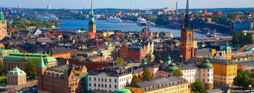 Photo sweden stockholm city Facebook Cover for Free