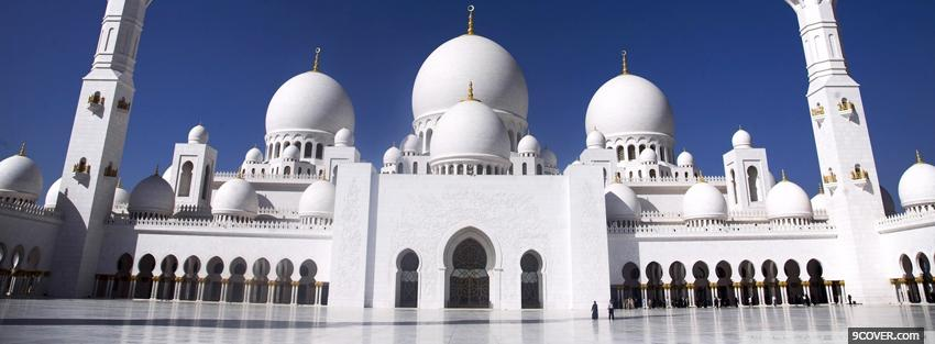 Photo the abu dhabi mosque Facebook Cover for Free