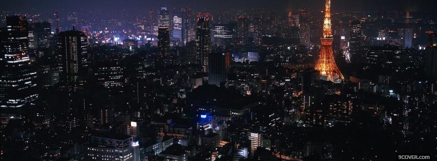 Photo night in tokyo city Facebook Cover for Free