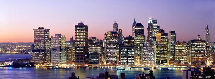 Photo new york city sunset Facebook Cover for Free