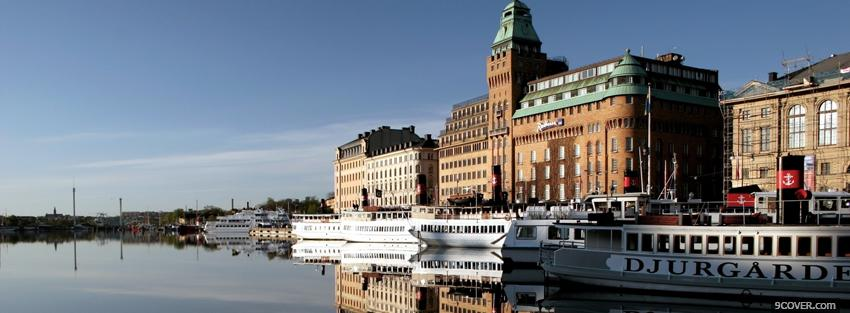 Photo stockholm city Facebook Cover for Free