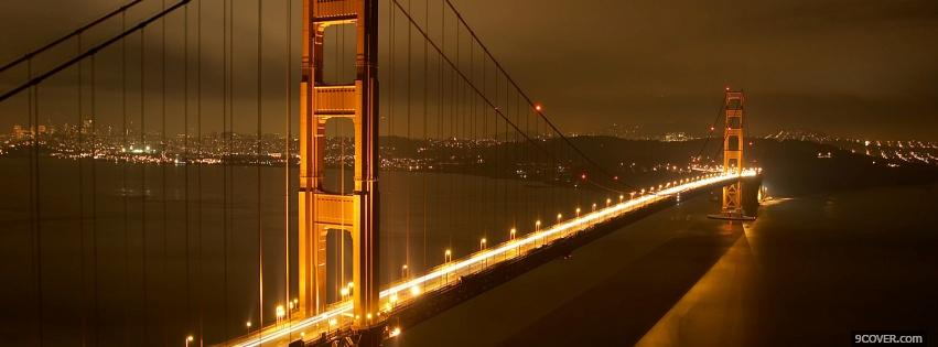 Photo golden gate bridge night Facebook Cover for Free