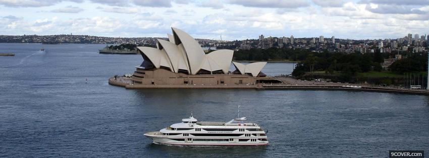 Photo opera house and boat sydney Facebook Cover for Free