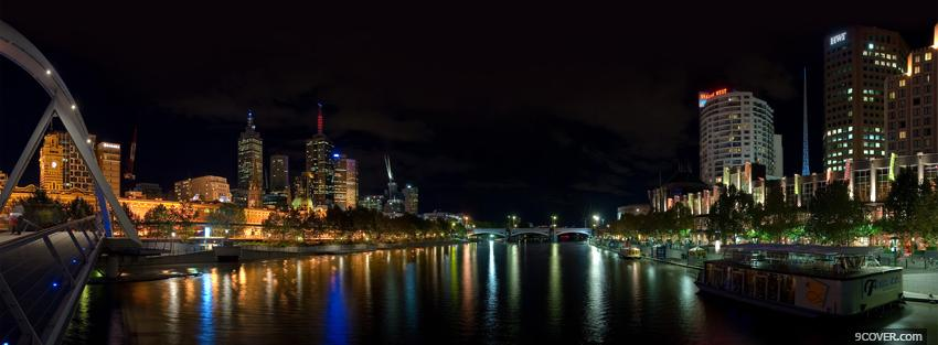 Photo melbourne night city Facebook Cover for Free
