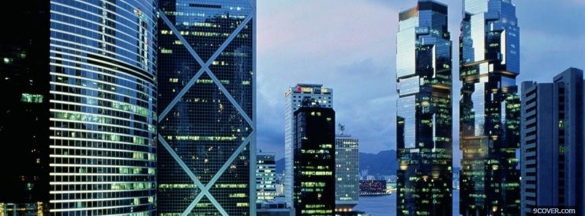 Photo hong kong city buildings Facebook Cover for Free
