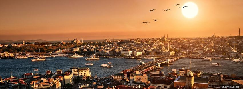 Photo istanbul and city Facebook Cover for Free