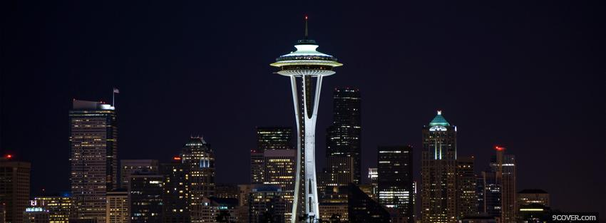 Photo seattle city at night Facebook Cover for Free