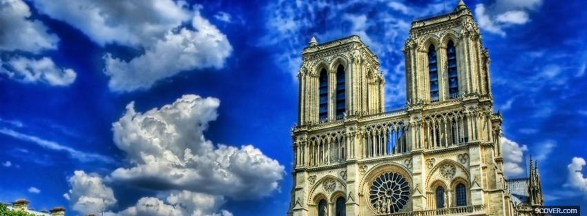 Photo notre dame in paris city Facebook Cover for Free