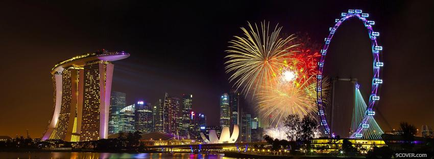 Photo singapore fireworks city Facebook Cover for Free