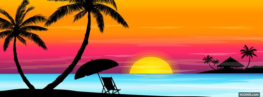 Photo beach sunset creative Facebook Cover for Free
