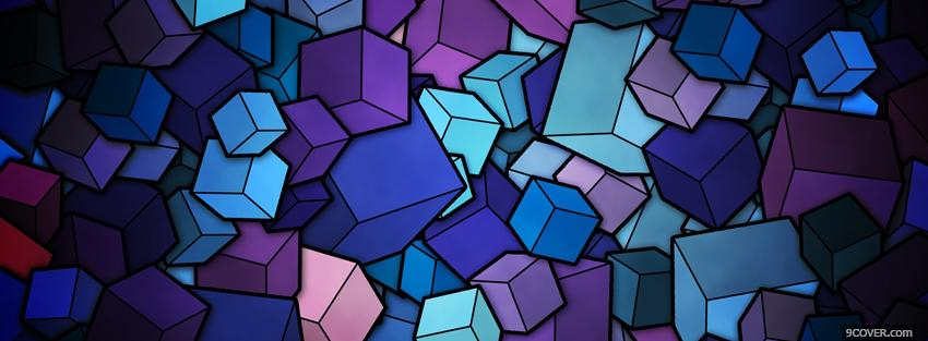 Photo blue purple cubes creative Facebook Cover for Free
