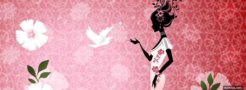 Photo woman standing bird creative Facebook Cover for Free