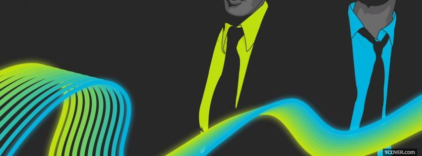 Photo blue yellow men creative Facebook Cover for Free