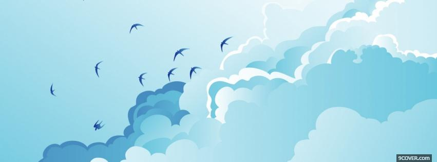 Photo birds clouds creative Facebook Cover for Free