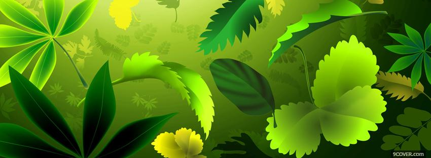 Photo flashy green plants creative Facebook Cover for Free