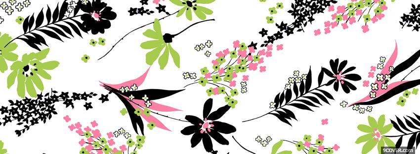 Photo black and pink flowers Facebook Cover for Free