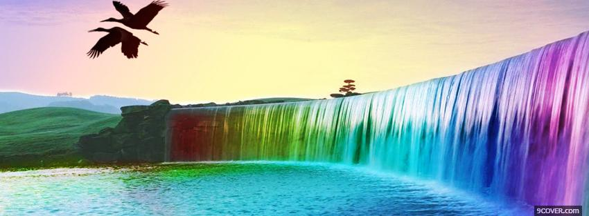 Photo waterfalls rainbow colors creative Facebook Cover for Free