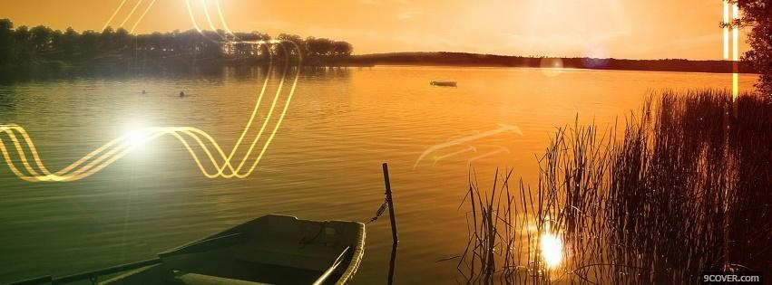 Photo sunset lake creative Facebook Cover for Free