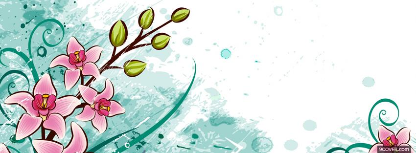 Photo drawed flowers creative Facebook Cover for Free