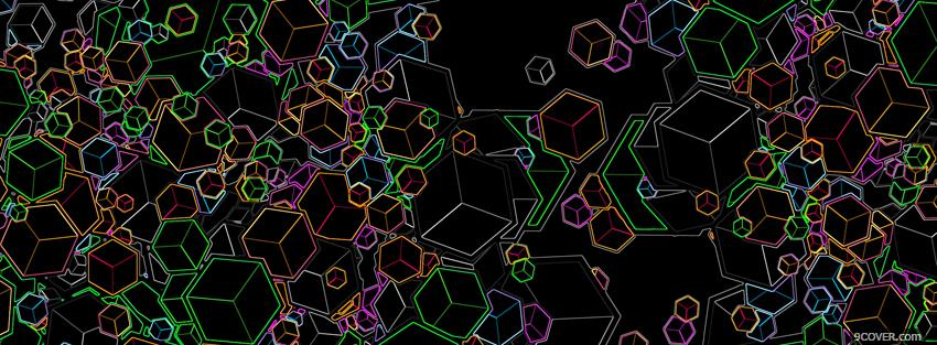 Photo neon cubes creative Facebook Cover for Free