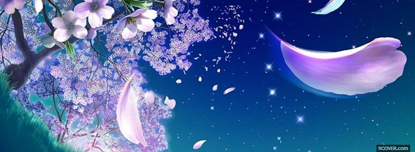 Photo floating petals creative Facebook Cover for Free