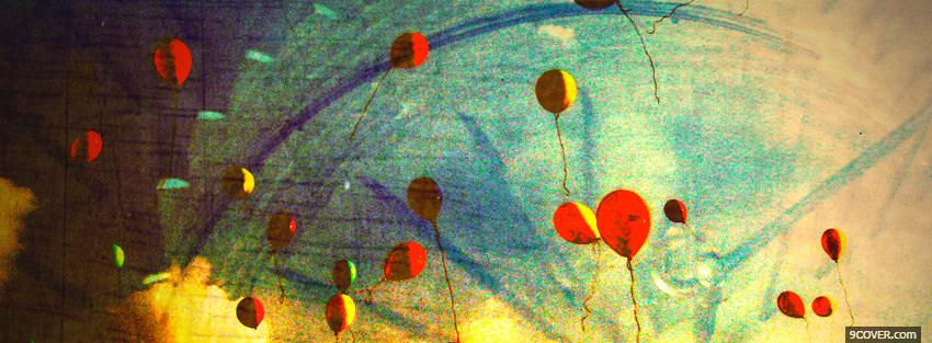 Photo red yellow balloons creative Facebook Cover for Free