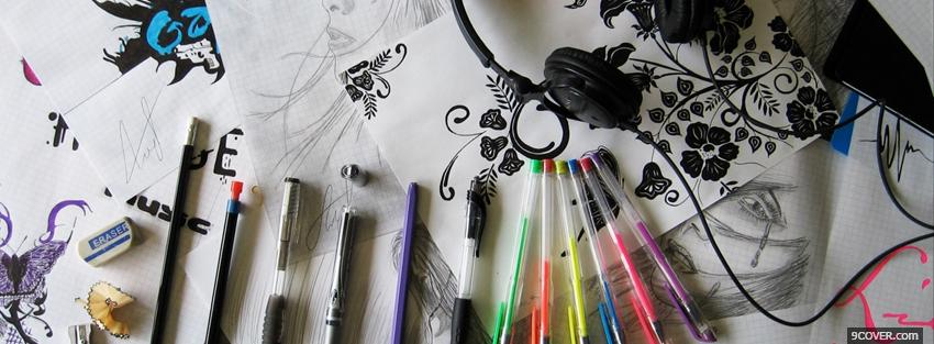 Photo crayons and drawings creative Facebook Cover for Free
