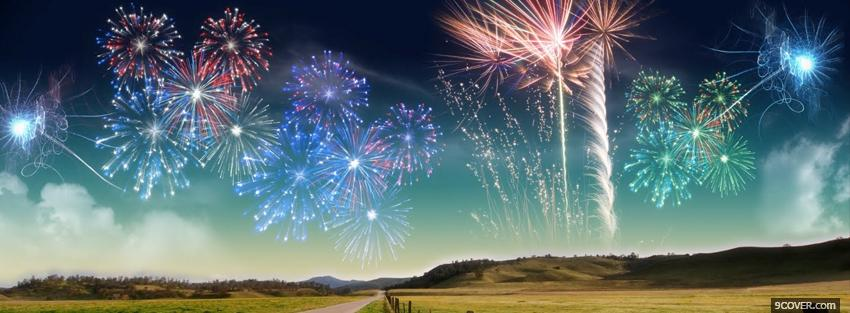 Photo many fireworks creative Facebook Cover for Free