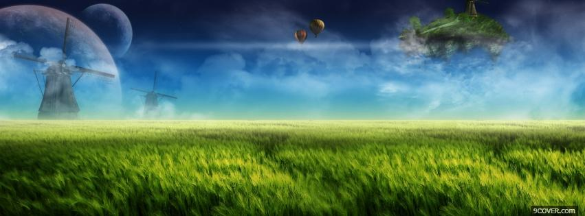 Photo bubbles grass clouds creative Facebook Cover for Free