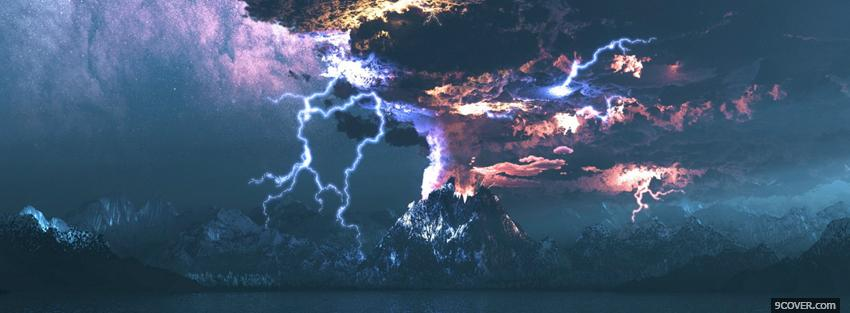 Photo volcano and lightning creative Facebook Cover for Free