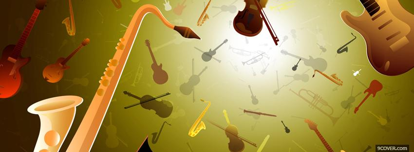 Photo music instruments creative Facebook Cover for Free