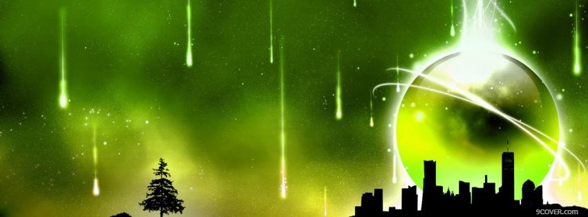 Photo neon green attack creative Facebook Cover for Free