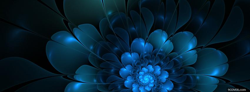 Photo bleu neon flower Facebook Cover for Free