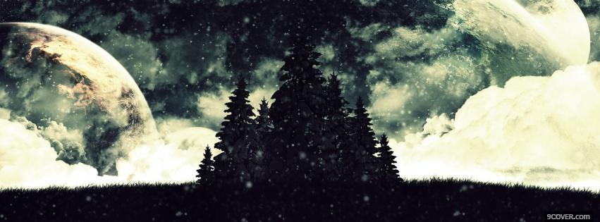 Photo forest in space creative Facebook Cover for Free