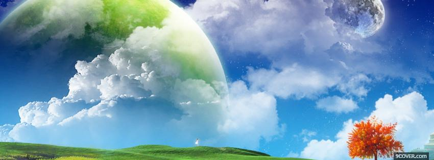 Photo world moon nature creative Facebook Cover for Free