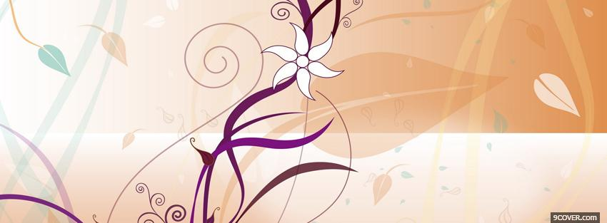 Photo white drawed flower creative Facebook Cover for Free