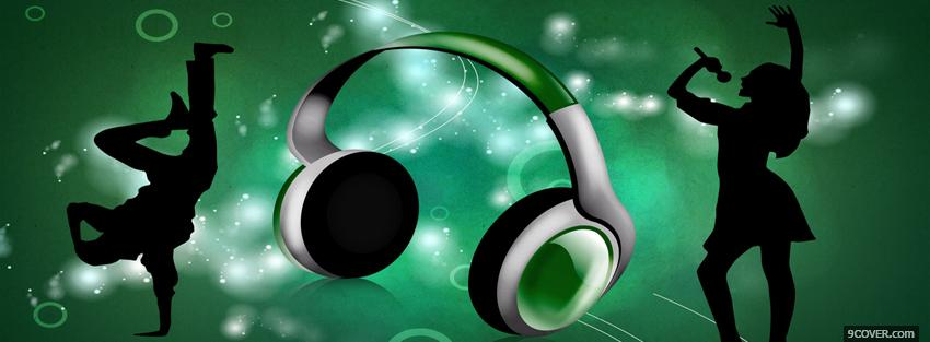 Photo headphones dancing creative Facebook Cover for Free